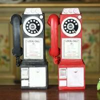 Home Decoration Vintage Telephone Model Crafts Ornaments Retro Home Furniture Figurines Phone Miniature Decoration Gift