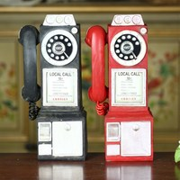 Home Decoration Vintage Telephone Model Crafts Ornaments Retro Home Furniture Figurines Phone Miniature Decoration Gift