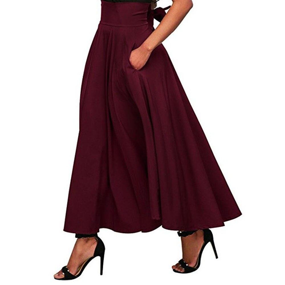 Hot Product Women High Waist Pleated A Line Long Skirt Front Slit Belted Maxi Skirt S-XXL skirts womens pleated skirt