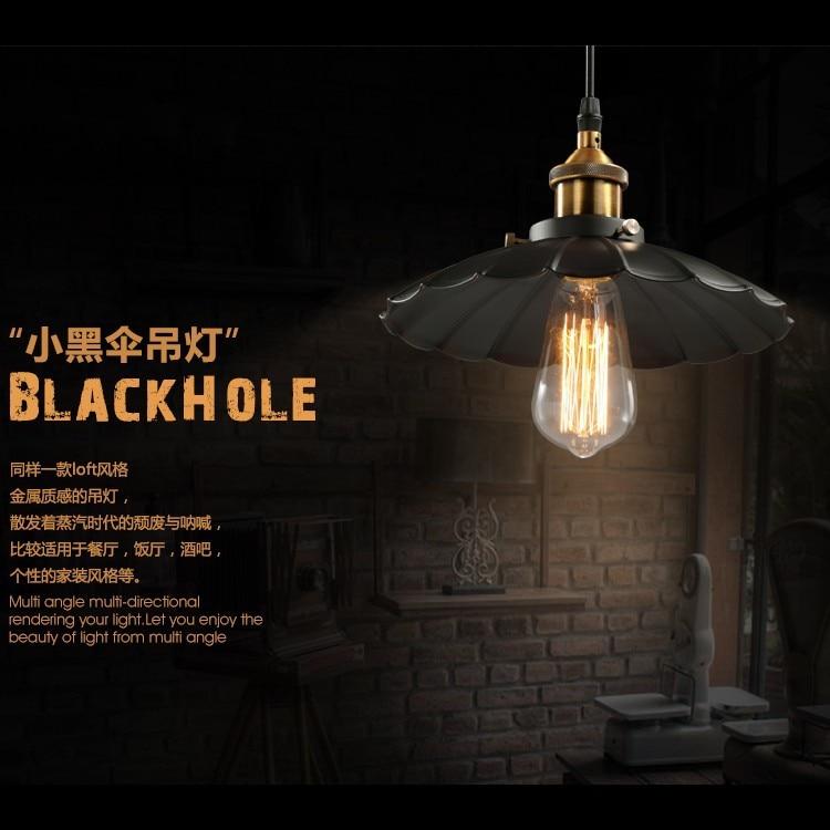 ФОТО Pendant light black white Edison bulb American village lamps Hanging Lamp luminarie Pendant lamp Industrial retro style iron Art