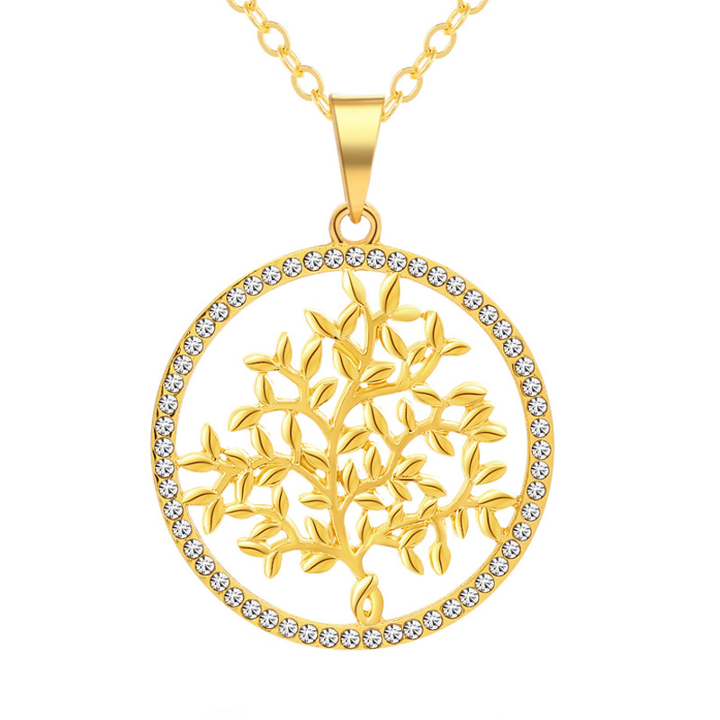 Necklace for Men Trendy Tree Of Life Crystal Round Owl Pendant Necklace Gold Silver Colors Women//men Bijoux Jewelry Gifts Dropshipping