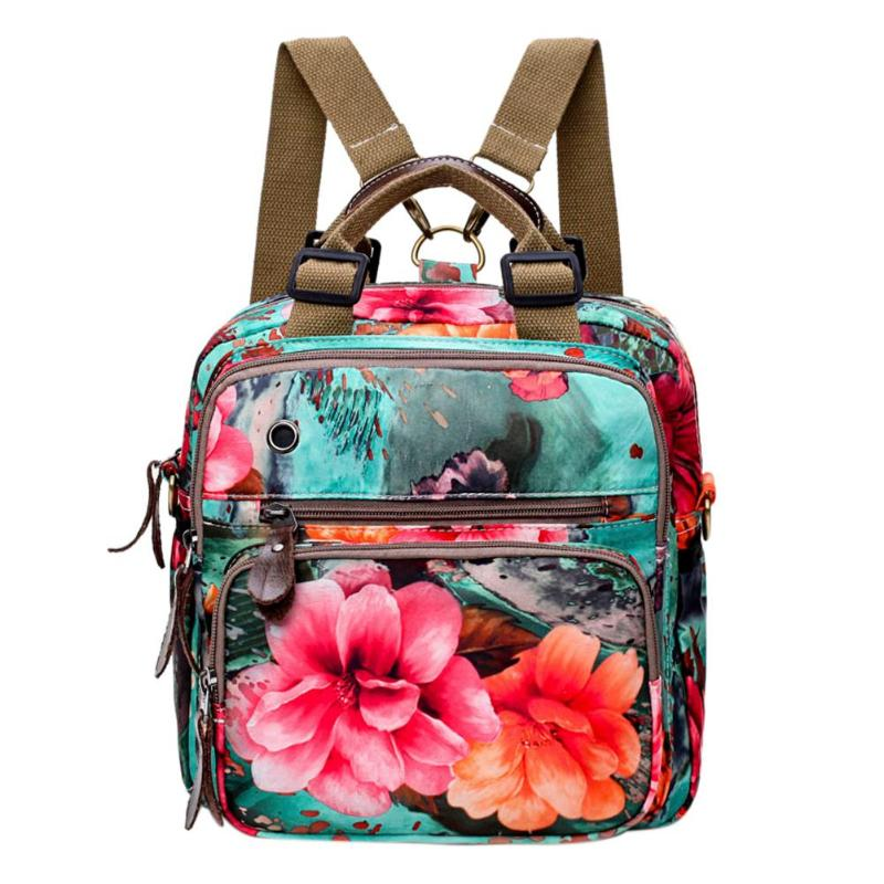 Chinese Style Women Retro Flowers Print Shoulder Bag Muti-Pocket Zipper Travel Backpack Large Capacity Rucksack Mochila FemininaChinese Style Women Retro Flowers Print Shoulder Bag Muti-Pocket Zipper Travel Backpack Large Capacity Rucksack Mochila Feminina