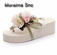 Moraima Snc brand Bohemia wedges shoes white Rose flower flip flops women sandals 6 cm high heels slippers summer pantuflas 2018