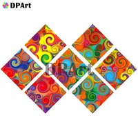 7PCS Diamond Painting 5D Full Square/Round Drill Colorful Rainbow Mandala Fractal Daimond Embroidery Painting Cross Stitch M831