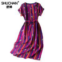 Shuchan Colorful Striped Dress Natural Silk New 2019 Fashion Summer Dresses Women Short Sleeve High Quality Dresses A0607