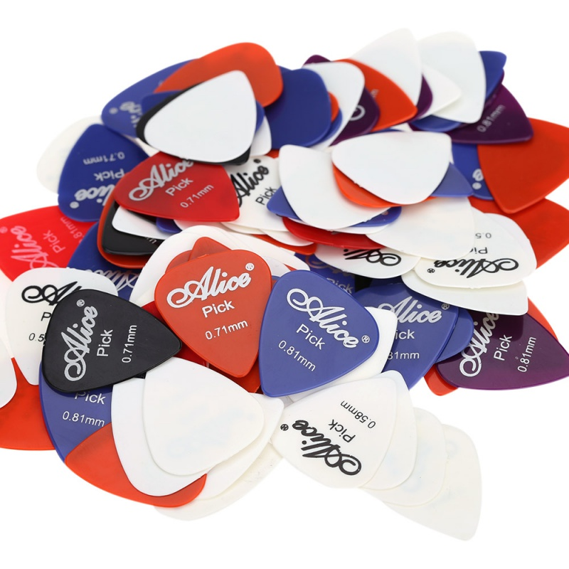 100 guitar picks 1 box case Alice acoustic electric bass pic plectrum mediator guitarra musical instrument thickness mix 0.58-1.