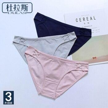 8a3d41629491c Хлопковые трусики сексуальное женское нижнее белье трусы бесшовное шелковое  белье под брюки DULASI бренды бикини женские брюки 3 шт