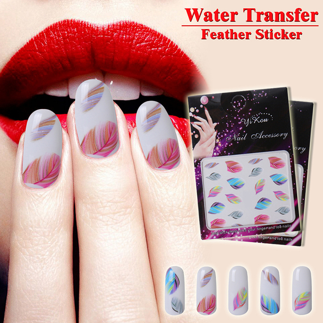 Nail Art Decals Diy Manicure Sticker New Charming Feather 3d Nail