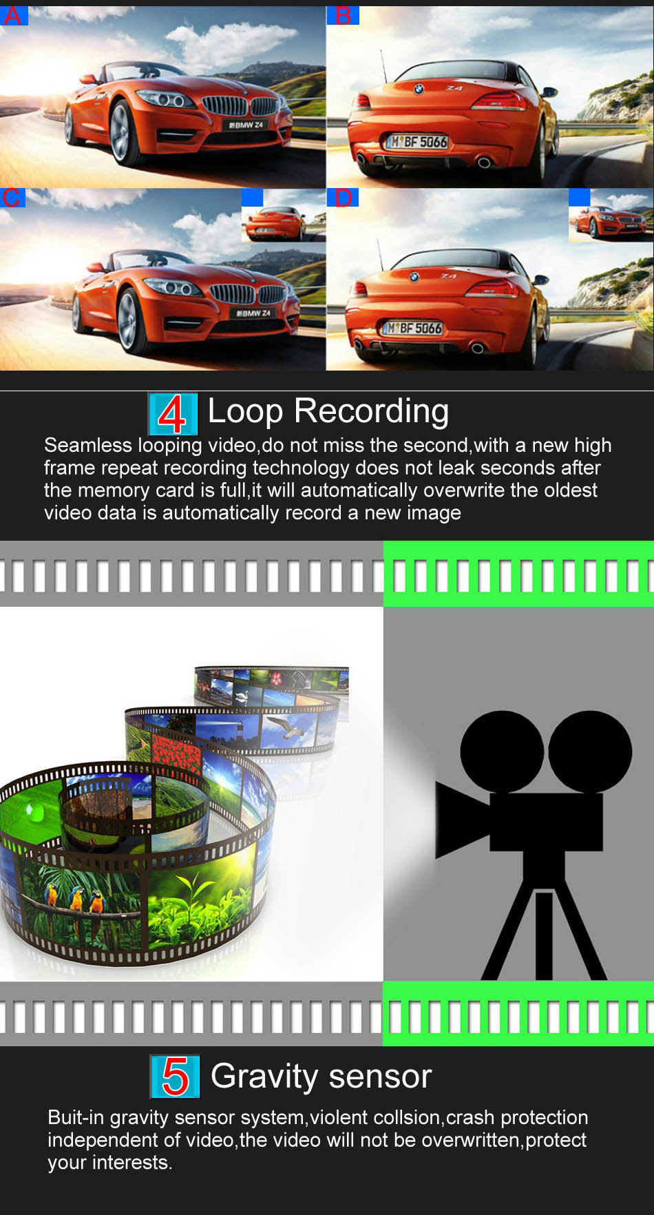 Mini Car DVR H801B With Rear View Camera Dual Lens Dash Cam 4 Inch Full HD 1080P+720P WDR Video Recorder Portable Camcorders-7