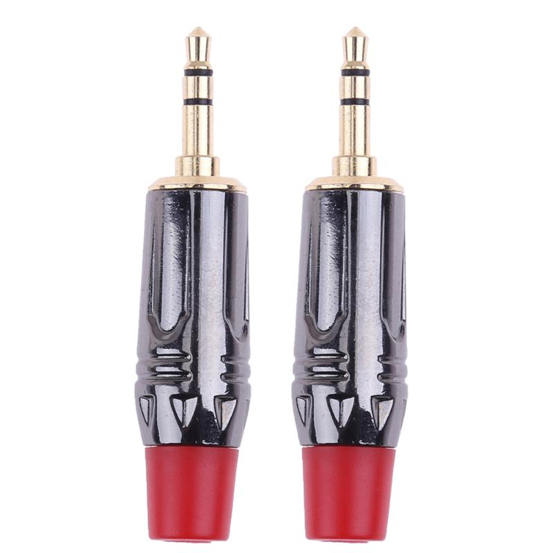 2pcs 3.5mm 3pole Stereo Male Plug Solder Adapter Connector Copper Gold Plated Convertor Headphones Audio Video Adapter