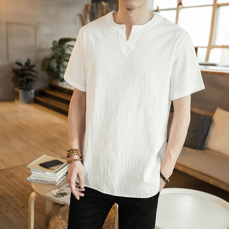 0c2f9cec17 M30 Lino Delgada V Manera Nueva Hombres La Color Mrdonoo blanco 2018 Negro  Camisa De Verano Corta Camiseta Sólido Manga cuello Algodón ...