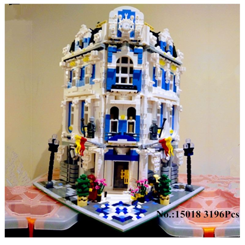 H&HXY IN STOCK Free Shipping 15018 3196 PCS New MOC City Series The Sunshine Hotel Set Building Blocks Bricks lepin DIY Toys цены