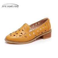 Genuine Leather Designer Vintage Shoes Sandals Handmade Blue Red Yellow Oxford Shoes For Women 2018 Spring