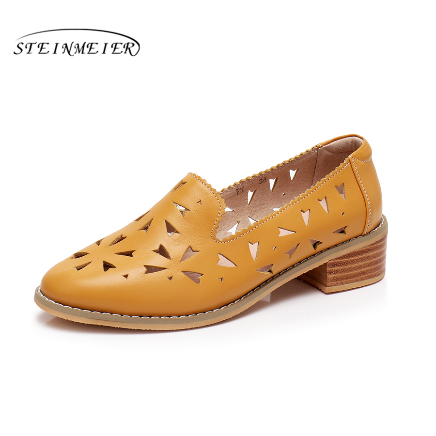 Genuine cow leather brogues designer vintage shoes Sandals handmade blue red yellow oxford shoes for women 2018 spring aardimi 100% cow leather oxford shoes for woman spring