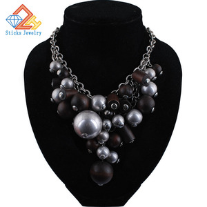 Charm European and American Fashion Accessories Exaggerated Jewelry Retro Style Wood CCB Grape Bead Necklace Female Ornaments(China)