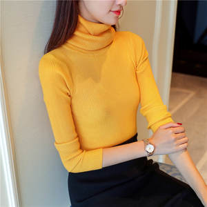 2018 Korea version Hot money women's heap long-sleeved pure color women autumn winter Elastic unlined upper garment pullovers