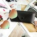 2016 Nova Moda Em Forma de Coração Óculos De Sol Mais Caso Óculos de metal MULHERES HOMENS oculos de sol Espelho lente Reflexiva óculos de sol glassese
