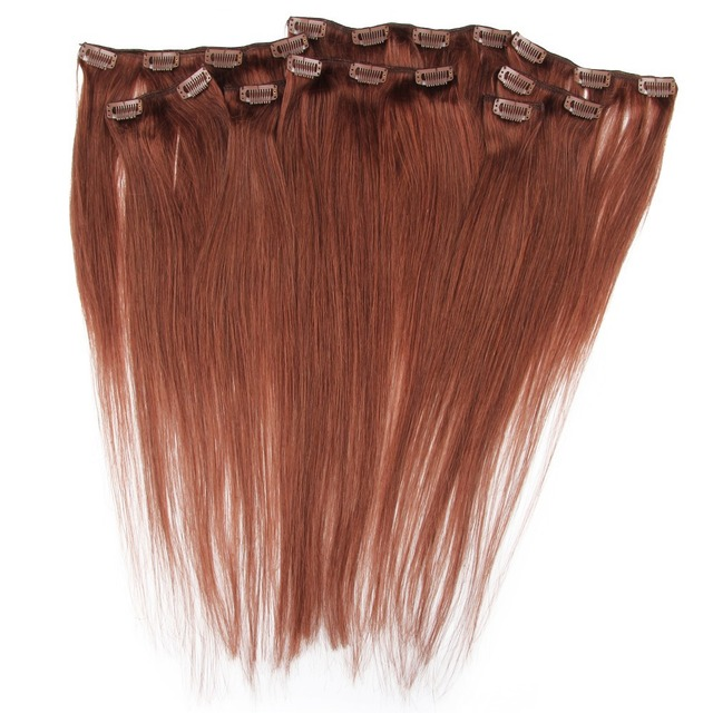 Us 53 99 Clips In Straight Hair Extension 20 Clips 8 Weft Dark Auburn Hair Color 33 16 28 120g Pack Free Shipping On Aliexpress Com Alibaba