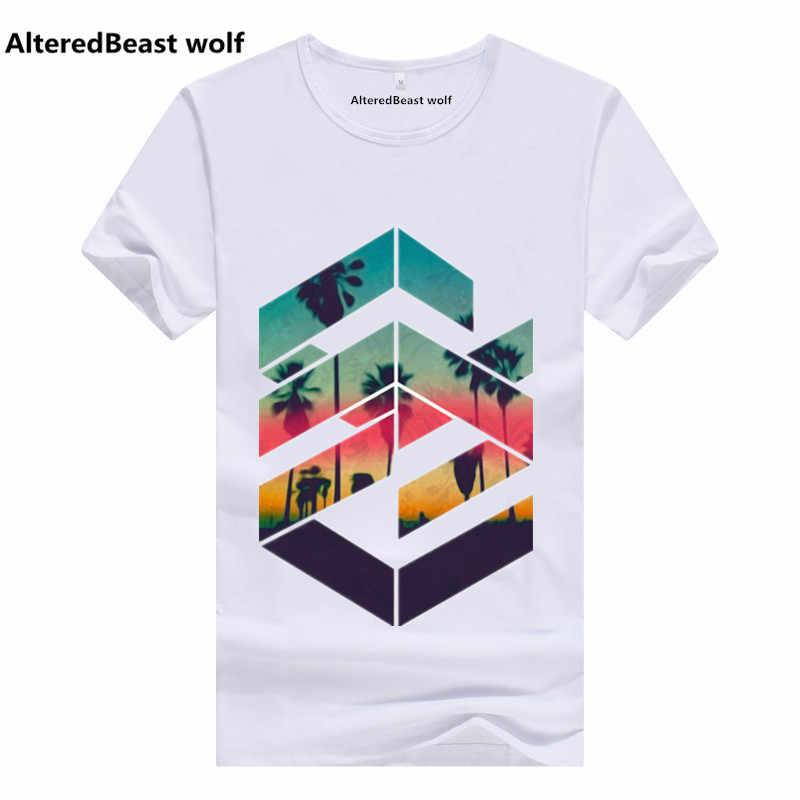 Новинка 2017 года Для мужчин геометрические Sunset Beach Дизайн футболка cool Топы корректирующие короткий рукав геометрический Hipster аниме Футболки для девочек