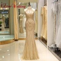 Новое поступление 2019 роскошный золотой бисер Вечерние платья на заказ Труба без рукавов строгое длинное вечернее платье 90725