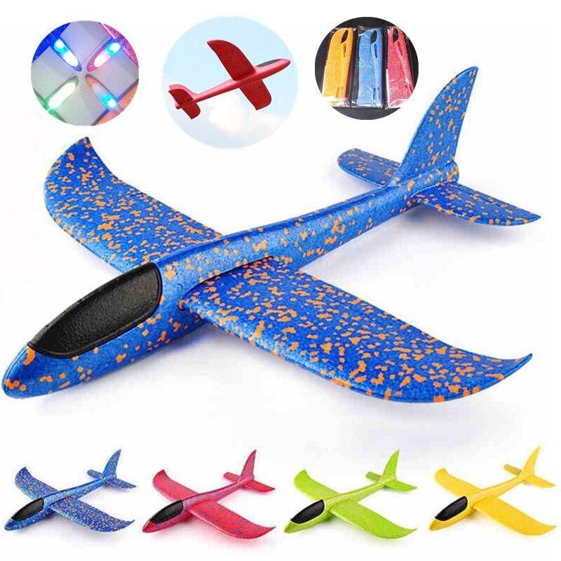 Bricolage jouets BigSize 48cm LED main jeter planeur volant EPP mousse avion avion volant modèle planeurs avion jouets pour enfants