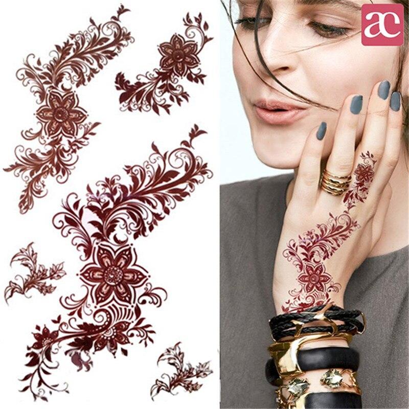 1 Sheet India Mehndi Tattoo Decals Henna font b Body b font Art Decals 3D Waterproof