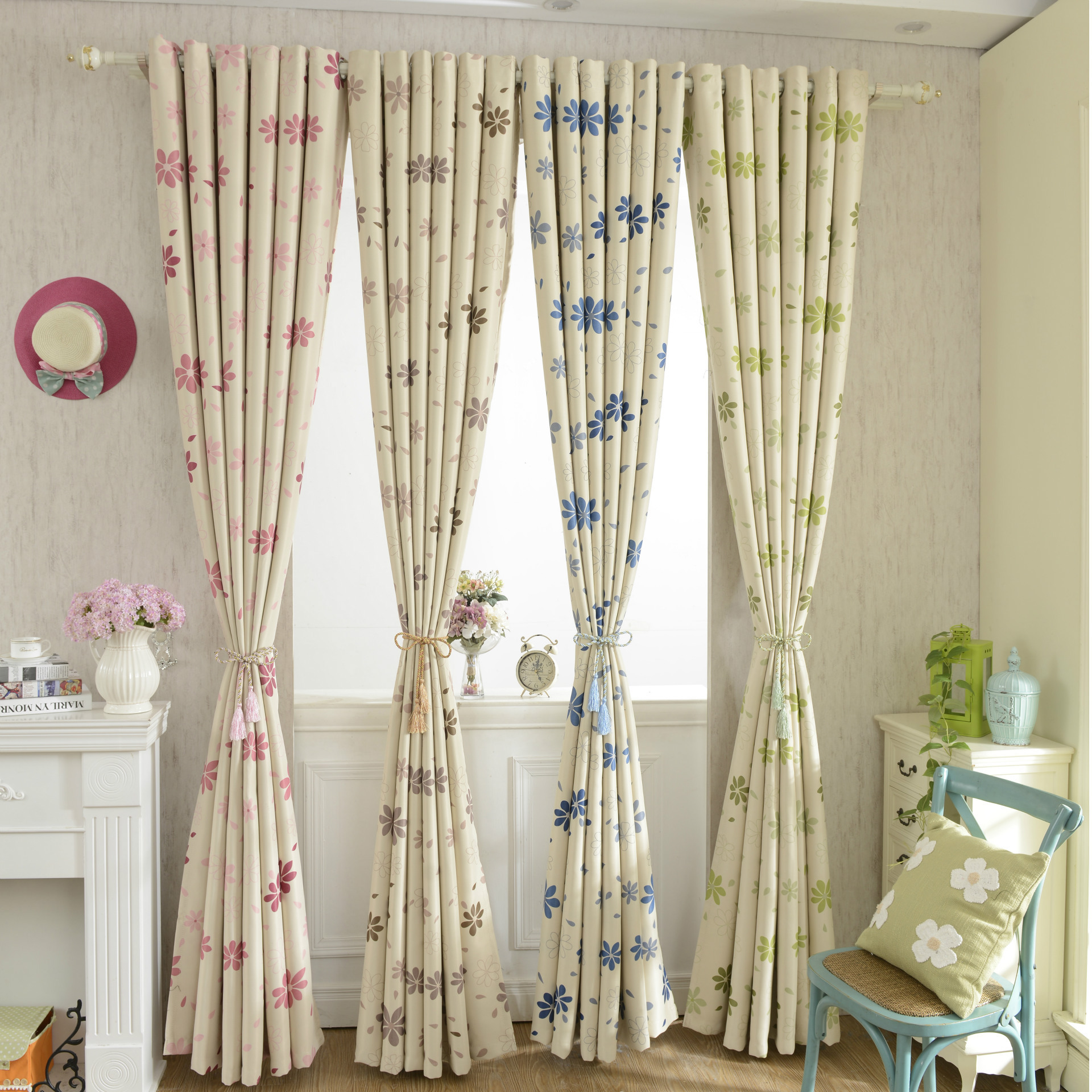 High quality 100 poly shading curtains flower printing for Tende a vetro per cucina classica