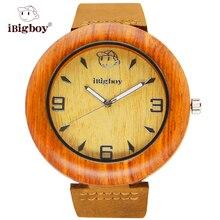 IBigboy Recoger Madera Padauk Madera Hombres Relojes Reloj 12 Horas Luminoso Analógico de Cuarzo Para Hombre Relojes de Primeras Marcas de Lujo de Cuero