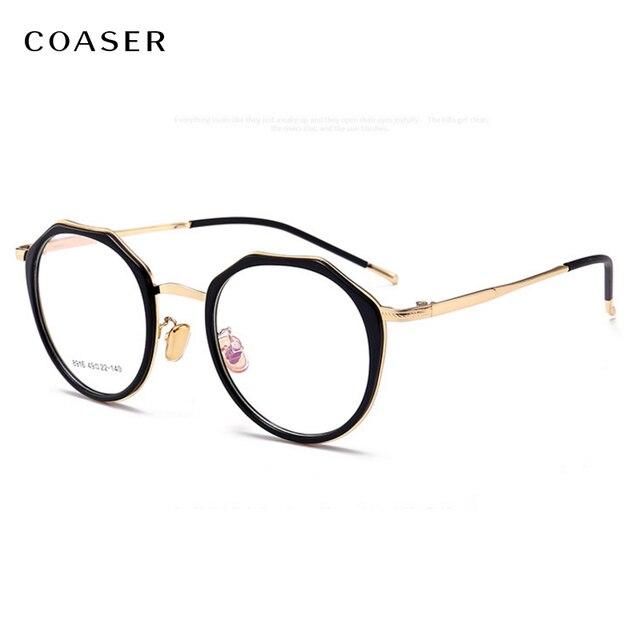 9c53ec9b6 COASER جديد تصميم خمر مضلع نظارات نسائية إطار سبائك مشهد العين غلس دعوى  وصفة طبية البصرية