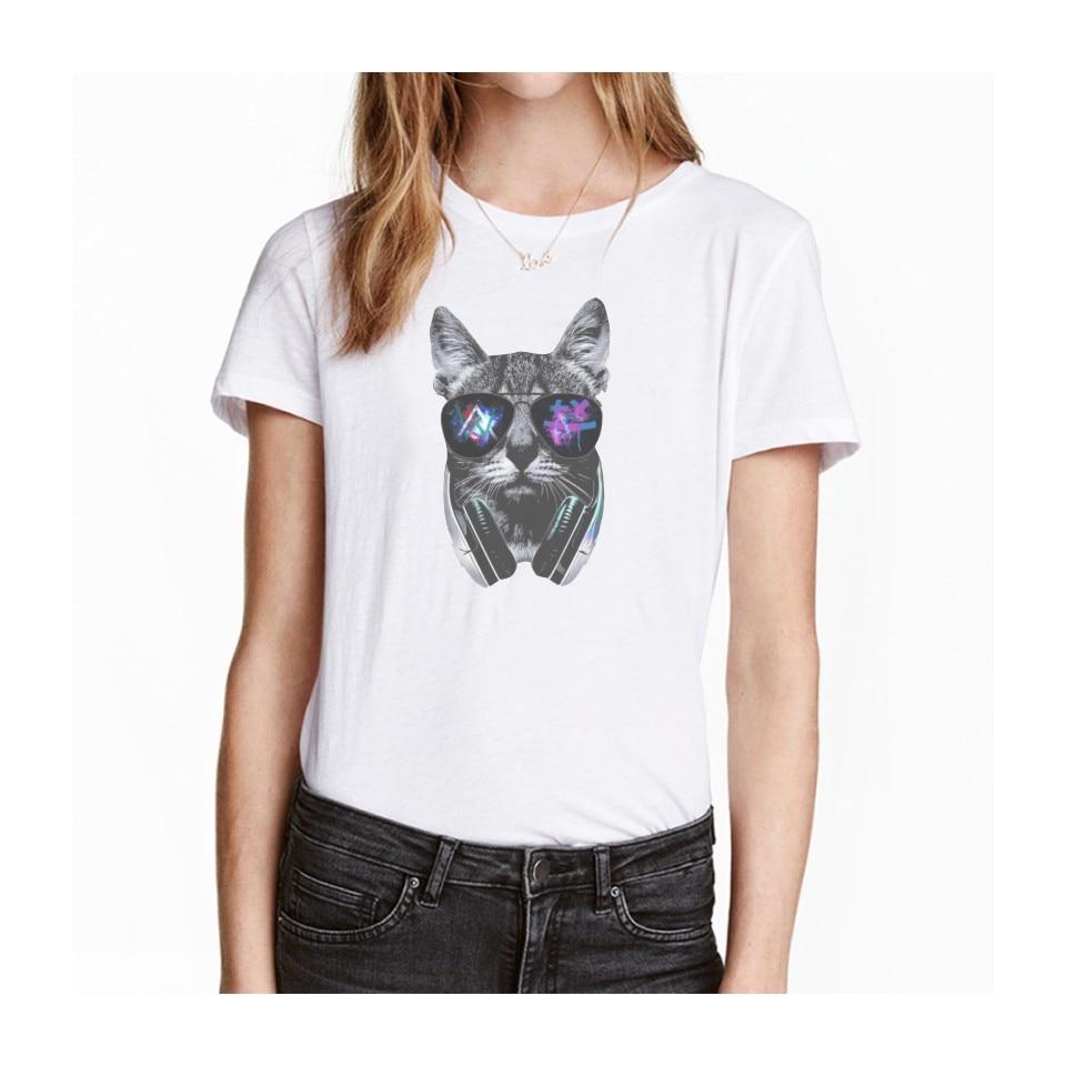 Desain t shirt kerah - Gila Dj Kucing T Shirt Baru Kedatangan Pria Wanita Bagus Gila Dj Kucing Desain Tshirt Keren