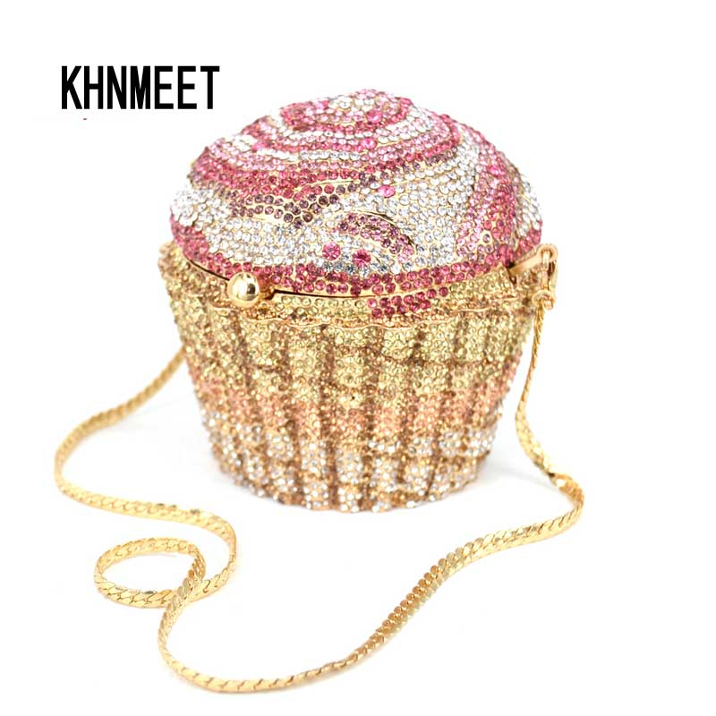 Designer Brand Luxury Crystal Evening Bag Fashion Cupcake Diamond Clutch Soiree Purse Women Wedding Bride Cake Handbags  SC515 brand designer luxury crystal multicolor clutch bag women diamond evening bag golden oval wedding banquet purse handbags sc467