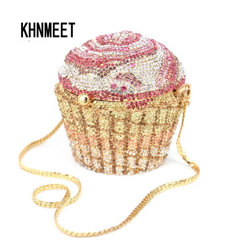 Projektant marki luksusowe kryształ wieczór torba Fashion Cupcake diament sprzęgło wieczór torebka kobiety ślub panna młoda ciasto torebki SC515 w Torby z uchwytem od Bagaże i torby na  Grupa 1
