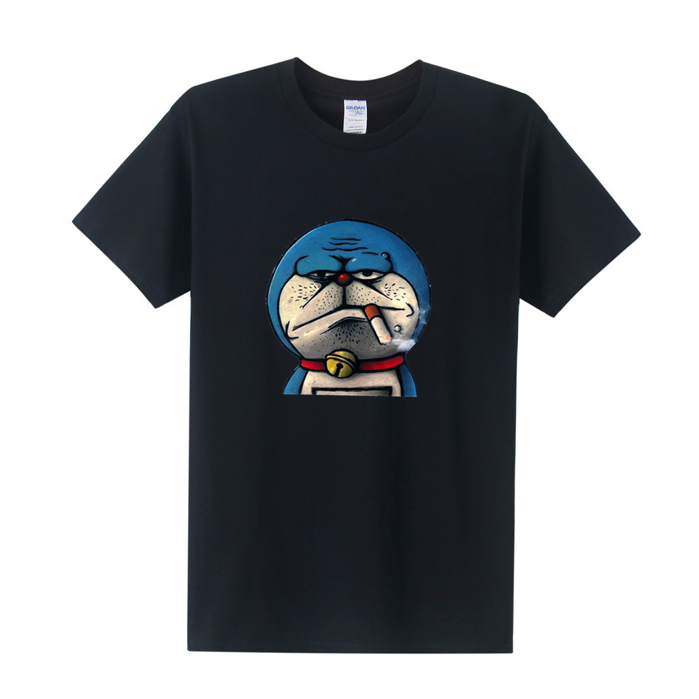 Japan Anime Doraemon T Shirt Men T-shirt Summer Short Sleeve Cotton Smoking Doraemon T Shirts Tops Men Tee
