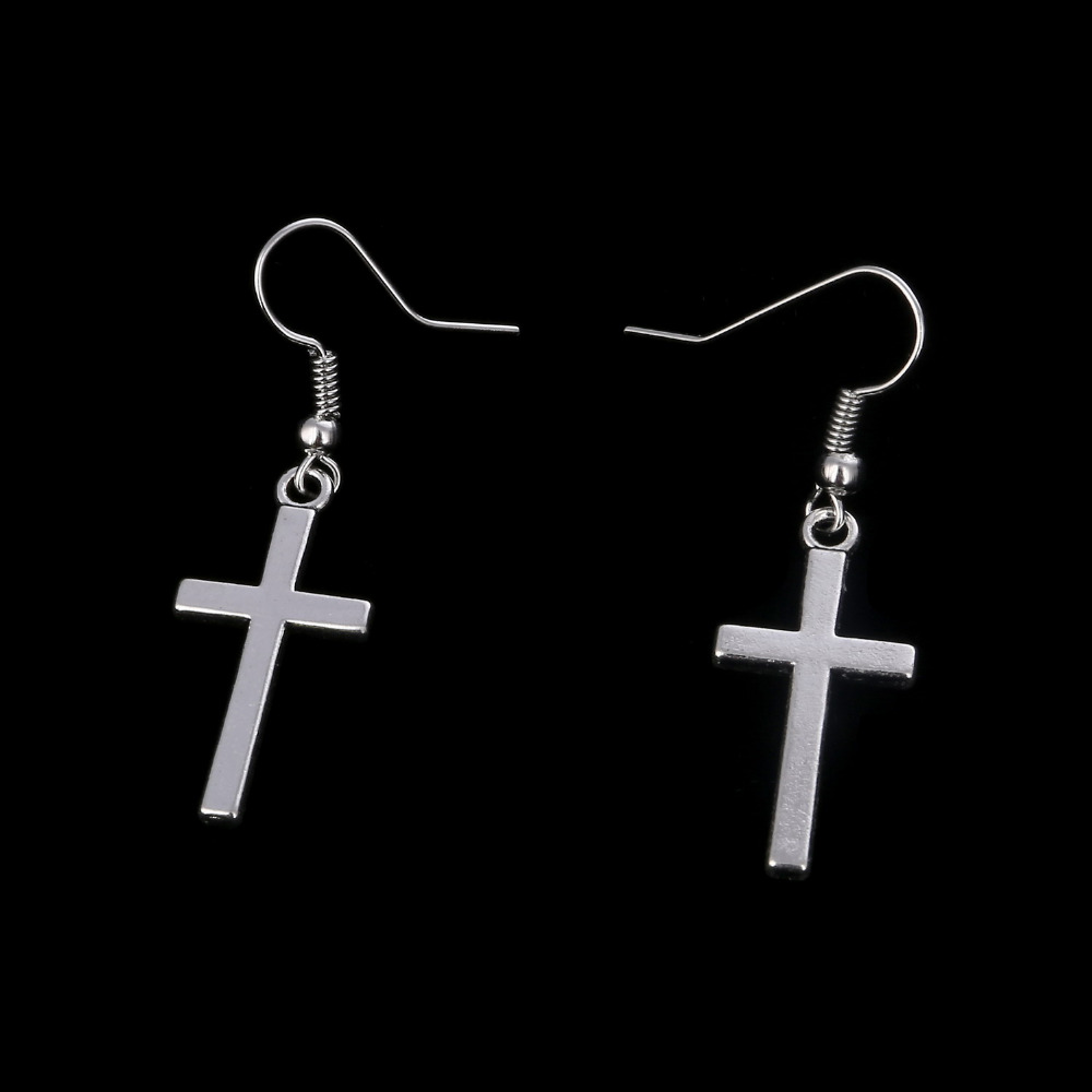24pair Fashion Gold Silver Color Charms Cross Drop Dangle Hook Earrings For  Women Girls Christmas Jewelry Gift