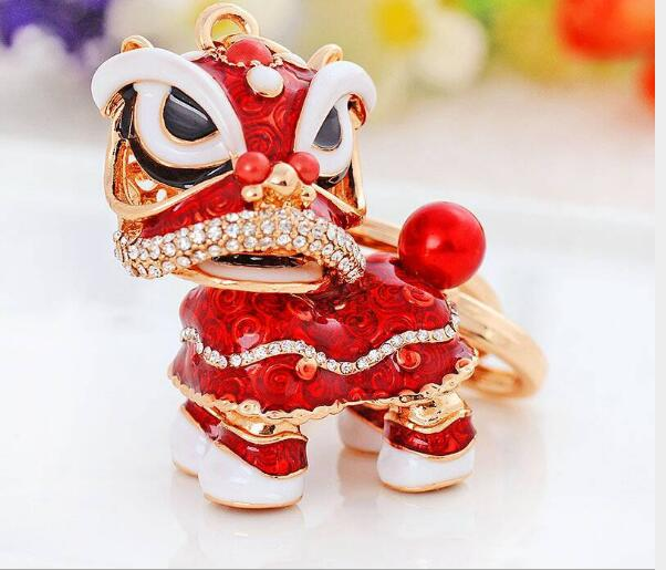 120pcs Special Chinese Folk Mascot Lion Dance Creative Enamel Metal Keyrings Gift For Women Girls Mascot Jewelry lin4117