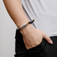 BOEYCJR Tibetan Buddhism Bangles & Bracelets Fashion Jewelry Handmade 999 Silver Bar Braided Rope Bracelet for Men For Women