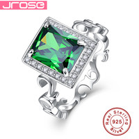 Jrose 8 10mm 5 3CT Emerald Solid 925 Sterling Silver Ring Elegant Family Xmas Gift Jewellery