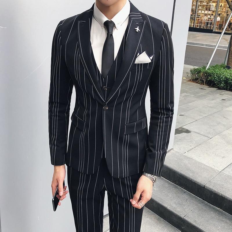 big sale a4f71 b905b US $177.62 |Patter Stripe Wedding Suit Luxury Slim Fit Smoking Uomo Men  Tuxedo Suit Smoking Homme Mariage Ternos Masculino 2018 Grooms Suit-in  Suits ...