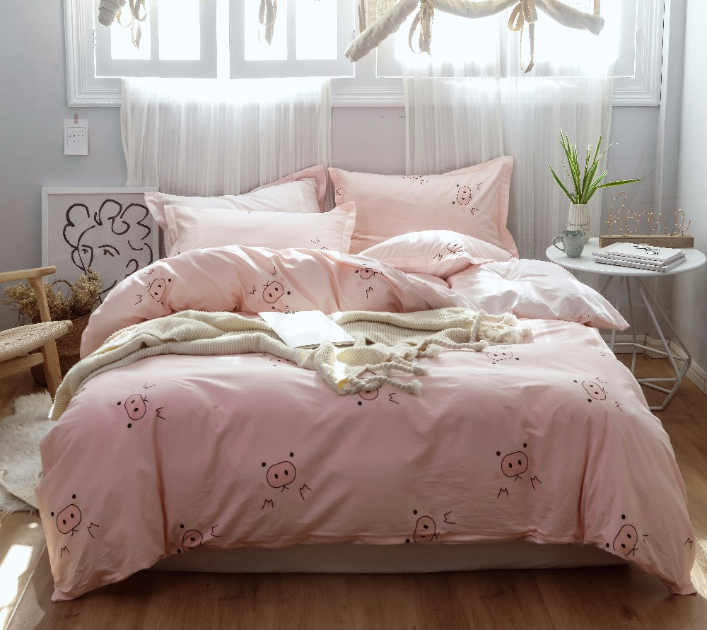 Cute pig cat Bedding Set cartoon Comforter Bedspread Double Bed Sheet Set Duvet Cover twin Queen King girls Adult Bed Linens SetCute pig cat Bedding Set cartoon Comforter Bedspread Double Bed Sheet Set Duvet Cover twin Queen King girls Adult Bed Linens Set