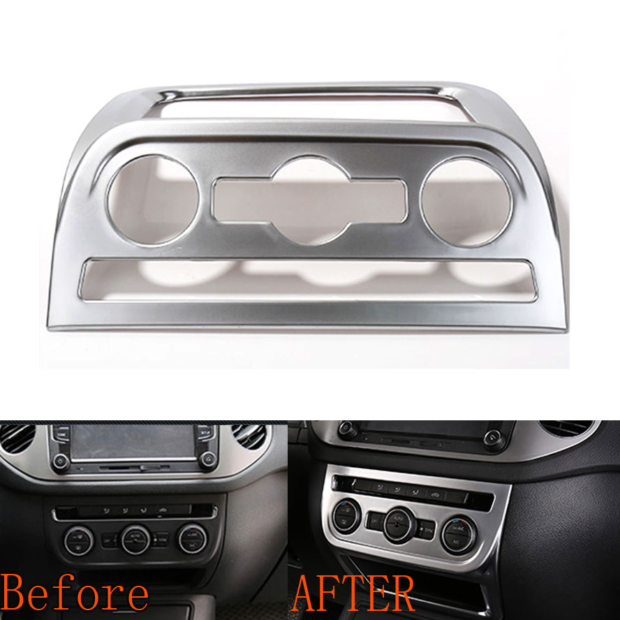 Auto Chrome ABS Center Console Air Conditioning Panel Trim Frame Decoration For vw Tiguan 2010-2015 Car Styling