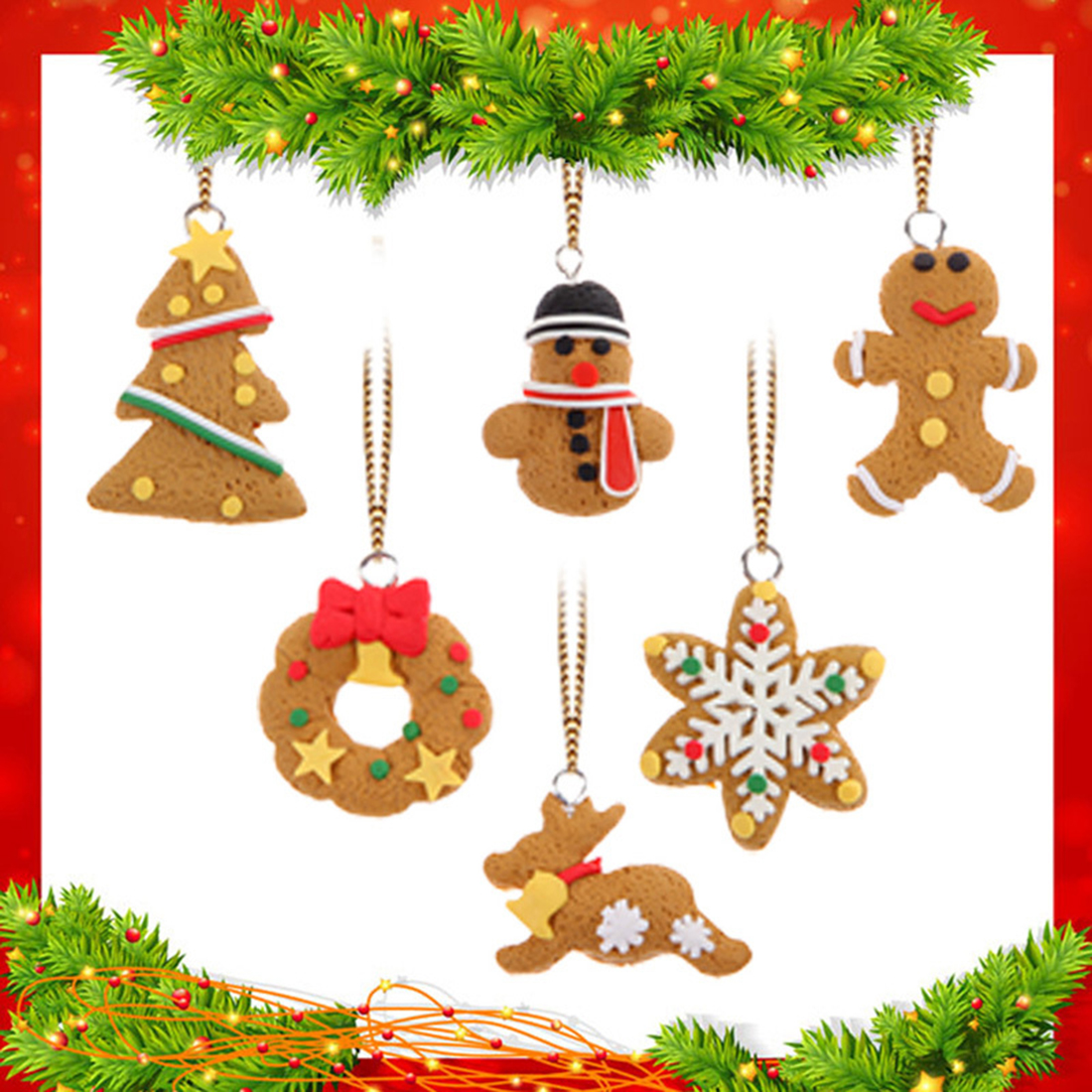 Big Sale 6pcs Mini Christmas Tree Hanging Accessories Polymer Clay Pendants Christmas  Ornament(china)
