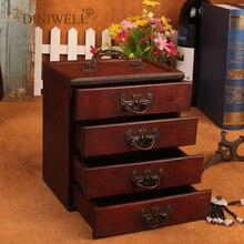 DINIWELL עתיק תכשיטי תיבת אחסון ארגונית עבור שרשרת צמיד עגילי 4 מגירות איפור אחסון קופסות נשים הלבשה תיבה