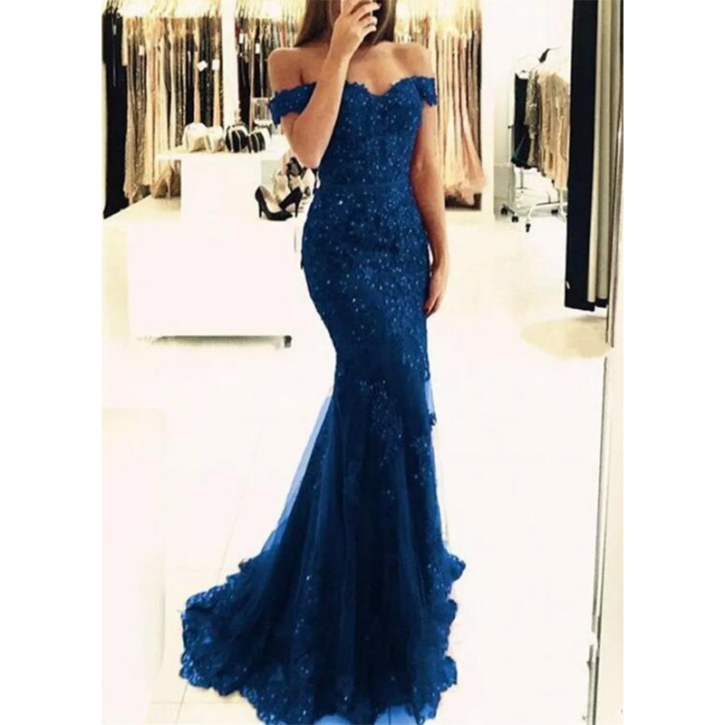 2019 Off The Shoulder Mermaid Long Evening Dresses Tulle Appliques Beaded Custom Made Formal Evening Gowns