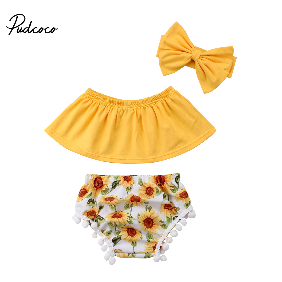 2018 Brand New Toddler Infant Newborn Baby Girls Off Shoulder Tops+Floral Shorts+Headband 3PCS Outfits Set Sunflower Clothes