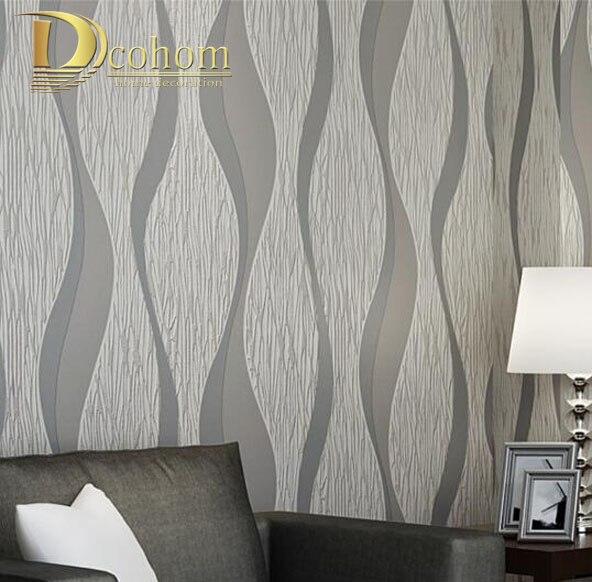 3d Wave Flocking Wallpaper Гостиная диван белая серая полоска настенная бумага 3d