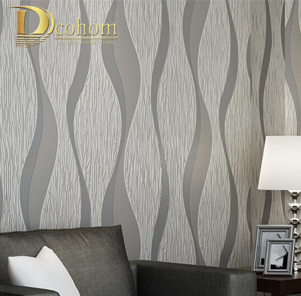 3d Wave Flocking Wallpaper Living Room Sofa White Grey Stripes Wall Paper 3d Design
