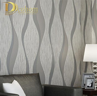 Non Woven Wallpaper Embossed Flocking 3d Wave Striped Wall Paper Europea Modern Minimalist Style Design Wallcovering