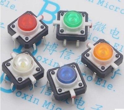 10pcs Illuminated Tact Switch Button switch 12*12 red White blue yellow green LED 4 pin reset 12*12*7.3mm