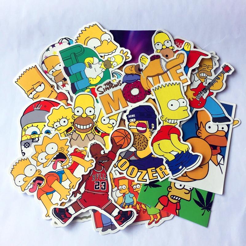 25 Pcs Mixed Cartoon Simpsons Stickers For Laptop Suitcase Skateboard Wardrobe Wall Guitar Moto Car Bike Kids Toy