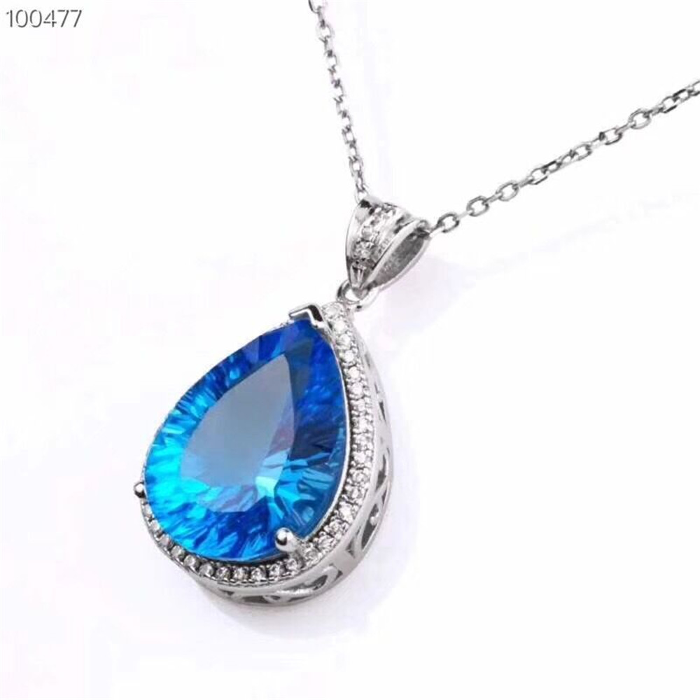 Amethyst Natural Gem Pendant Necklace 925 Sterling Silver Fine Jewelry Blue Peach Design Classic Luxury Wedding Party MEDBOO
